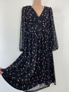 BNWT NEXT black tulle lace floral print fit and flare midi dress size 10 petite
