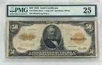 1922 LARGE $50 GOLD CERTIFICATE ~ PMG25 Fr#1200m MULE  John Burke  Back Plate #1