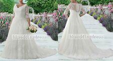 2017 New Plus Size White/Ivory Bridal Gown Lace Wedding Dress Custom Size 14-26+