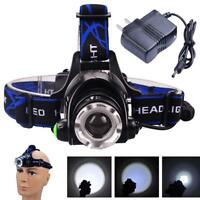 2000lm Zoomable  XM-L T6 LED headlamp rechargeable + chargeur AC GA