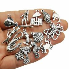 10 Beach Charms Antiqued Silver Ocean Themed Pendants Assorted Lot Mix