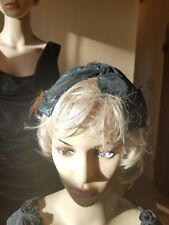 Vintage Amy New York hat shinny black with feather and net in back