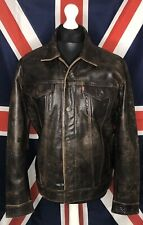 Levis Leather Trucker Jacket Large Brown