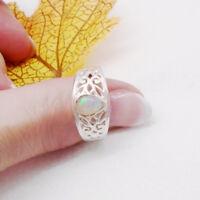 Äthiopischer Opal Tropfen Design Ring Ø 17 18 18,75 mm 925 Sterling Silber neu