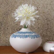 White  Blue Tribal Ceramic Flower Vase