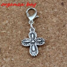 15Pcs Antique Silver Cross flower Charm Bead with Lobster clasp Fit Bracelet