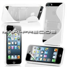 FUNDA IPHONE 5S 5 SOPORTE BLANCA BLANCO GEL SILICONA CARCASA STAND CASE HOUSSE
