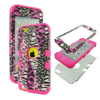 PCSoft Tuff Pink Leopard Zebra for Apple iPod Touch 5 Case Cover