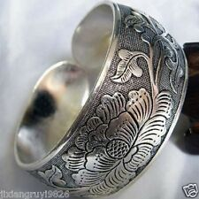 New Tibetan Tibet Silver the Totem Lotus Bangle Cuff Bracelet