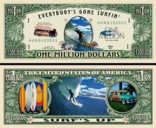 Surfing Million Dollar Bill Collectible Fake Play Funny Money Novelty Note