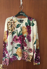 M&S Ladies Cream Floral Print Round Neck Button Front Cashmere Cardigan; size 14