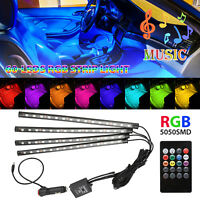 4PCS 60 LED Car Interior Atmosphere Neon Lights Strip Music Control + IR Remote