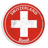 2 x 10cm Basel Switzerland Vinyl Stickers - Swiss Flag Luggage Sticker #20999