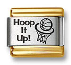 Italian Charm Bracelet Link Laser Hoop It Up Basketball Gold Trim Stainless