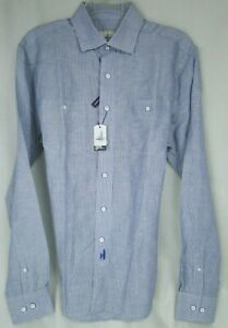 Johnnie O Hangin Out Button-down Linen Blend Shirt in Blue MSRP $128 NWT - SM