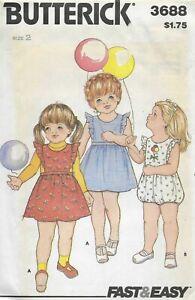 Vintage Girl's Flutter Sleeve Dress Playsuit Romper Sewing Pattern UNCUT 2