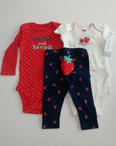 Carters 6 Month 3 Piece Strawberry Pants Body Suit Set NWT