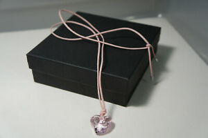 Swarovski SWAN PINK Crystal HEART Pendant PINK Cord Necklace16-22 Inches