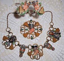Vintage Hobe Egyptian Revival Nefertiti Enamel Necklace Brooch Earrings Unsigned