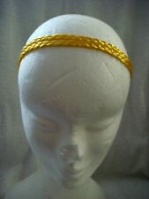 Head band/ bandeau braided in yellow 1.5cms wide, elastic back