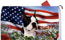 Boston Terrier Decorative Patriotic Mail Box Cover