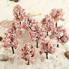 10pcs OO HO Scale Pink Flowers Model Trees Railway Train Diorama Garden Scenery