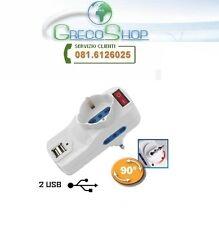 Spina elettrica rotante adattatore tripla schuko 16A + 2 prese USB 2x1A