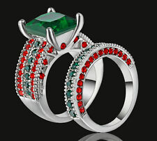silver Rhodium Plated size 6 Emerald Wedding Engagement Ring set Pair Birthday