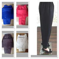 XL Ladies Pakistani Elasticated Waist Cotton Trousers Button Details fits 16/18