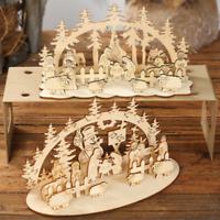 Merry Christmas Wooden Santa Claus Xmas Home Decor Pendant DIY Table Ornament UK