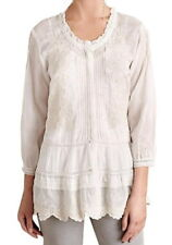 $238 Anthropologie Peronelle Peasant Top Medium 6 8 Ivory Pin Tucks Lace Tiered