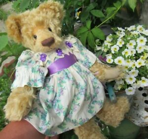 "VINTAGE MOHAIR TEDDY BEAR GIRL PURPLE DOLL DRESS ARTIST ROSALIE F MILL CREEK 20"""