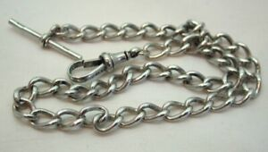 Victorian 1894 Silver Albert Pocket Watch Chain