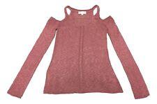 Pink Republic Size Medium Rose Pink Cold Shoulder V-Neck Sweater NEW
