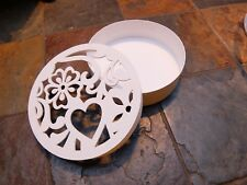 Wooden Lidded Box with Heart Decoration Painted with Farrow & Ball Paint