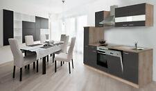 Küche Küchenzeile Küchenblock Einbauküche 250 cm Eiche Sägerau grau respekta