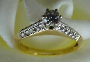 real 18ct yellow white gold round art deco solitaire diamond claw set ring 3.7mm