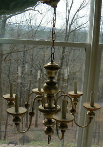 Chandelier Wood & Metal 23''H x 25''W  6 lites Gold & silver antiqued finish VTG