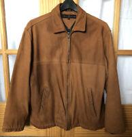 Vintage TOMMY HILFIGER Golf Tan Genuine Leather Men's Full Zip Jacket Sz M