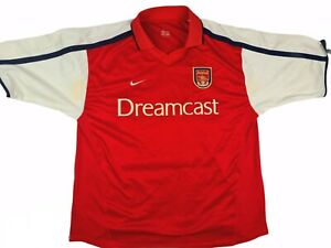 Arsenal Dreamcast Nike Home Shirt 1999/2000 Red XL Vintage Football Soccer Top