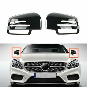 Pair Front Door Wing Mirror Cover Casing Black Fit For Mercedes Benz W221 C218
