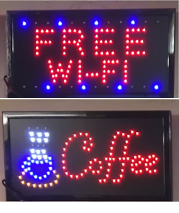 19 x 10 Animated Motion Running LED Coffee Sign / Free WiFi Sign