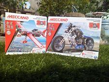NEW MECCANO STUNT PLANE & motorcycles motos - (2 Model Sets) - (AGE 8+) lot RARE