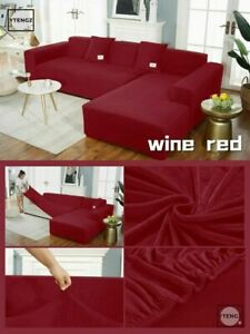 Solid Velvet Fabirc Elastic L Shape Sofa Covers Stretch Slipcover Couch Covers