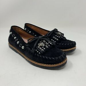 Coach Women's Black Suede Roccasin Studded Moccasins Fur Liner Size 5B G1210
