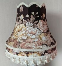 Vintage Floral Lamp Shade, Chintz, Tassels, Brown/Gold/Cream *VGC* 15x16 Inches
