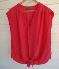 Jacqui E Women's Pink/Coral Top with Fabric Tie on Hem - Size 10