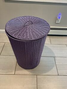Large Tall Wicker Like Laundry Hamper and Metal Lavender with Cover/Lid