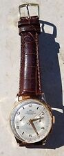 18K ARISTON CHRONOGRAPHE SUISSE WRISTWATCH-17J CAL 51-de Beer BROWN CROC BAND