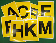 Dressage Arena Marker stickers x 8 Black on Yellow ABCE FHKM 150x200mm (160-YLW)